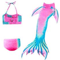 3PCS Kid Girls Omber Pink Bowknot Mermaid Tail Bikini Swimsuit