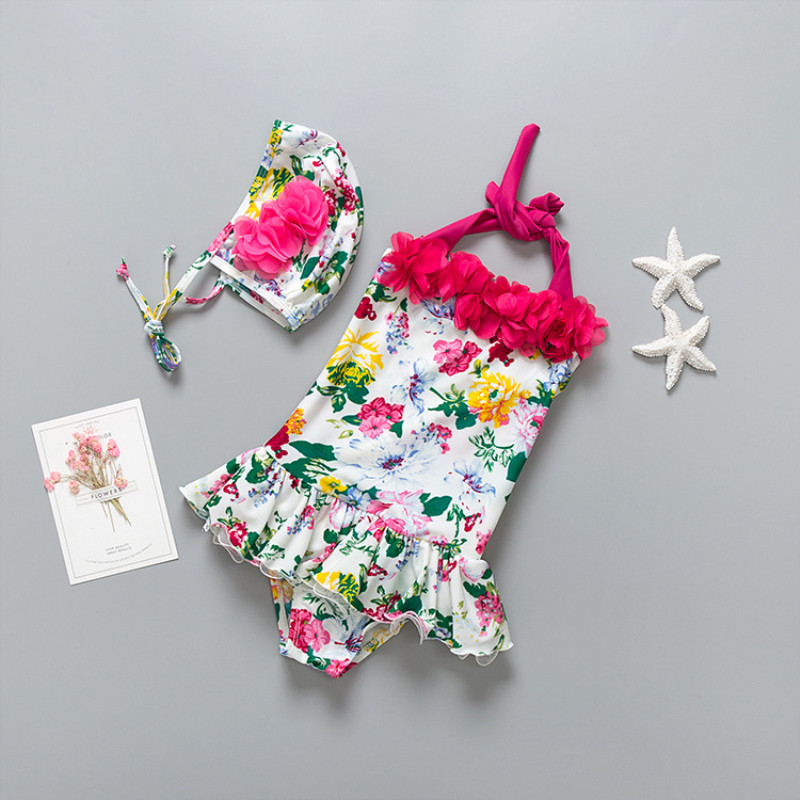 Kid Girls' Flowers Ruffles Swimwear