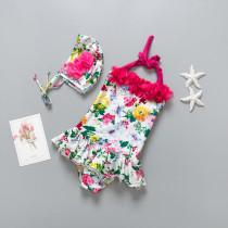 Kid Girls' Flowers Ruffles Swimwear