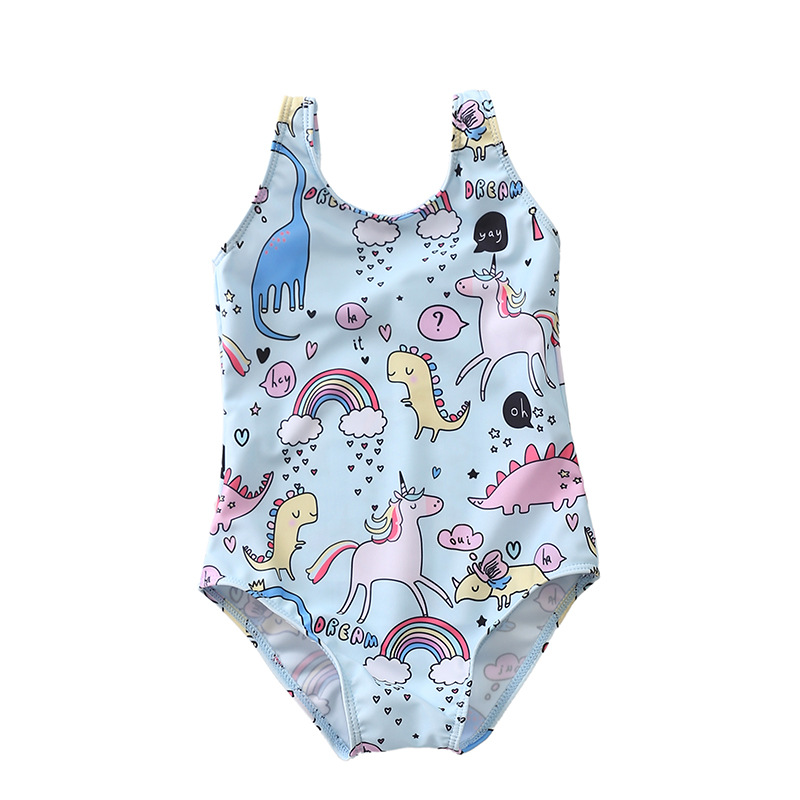 Kid Girl's Print Cute Cartoon Animals Blue Swimsuit