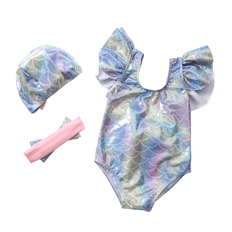 Kid Girl's Twinkle Fish Scales Bowknot Beach Swimwear With Cap