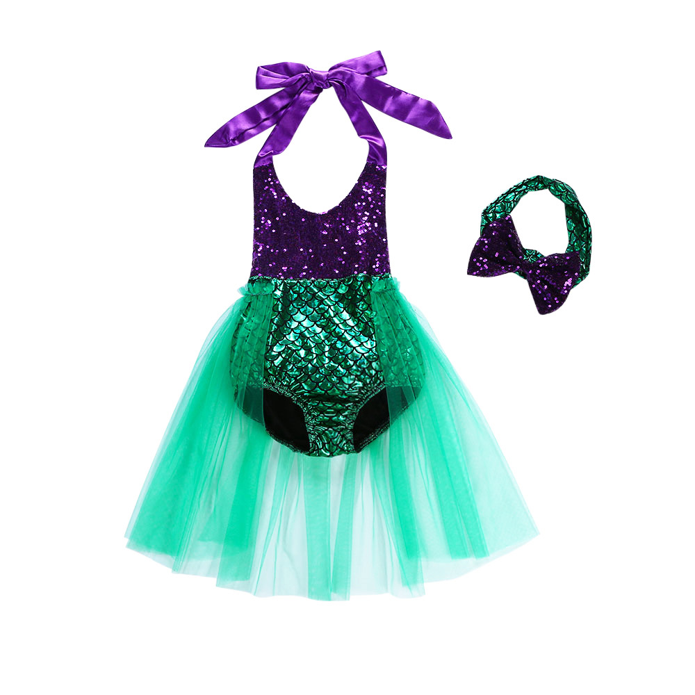 Kid Girls Sequins Tutu Bikini Swimsuit