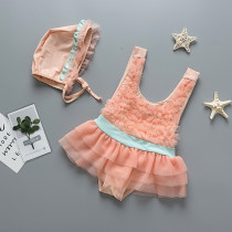 Kid Girls' Orange Pink Layers Tutu Swimwear