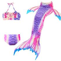 3PCS Kid Girls Omber Purple Mermaid Tail Bikini Swimsuit