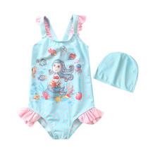 Kid Girl's Print Mermaid Dots Beach Swimwear