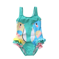 Kid Girl's Print Two Birds Ruffles Pink Green Swimsuit
