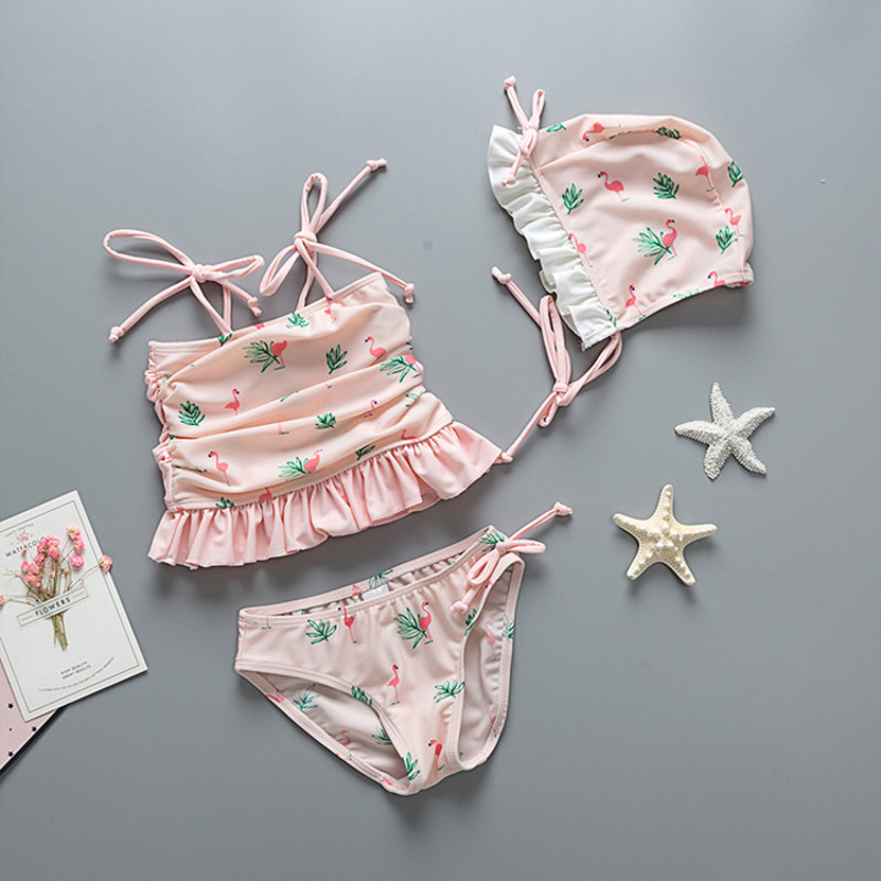Kid Girls' Flamingos Ruffles Swimwear