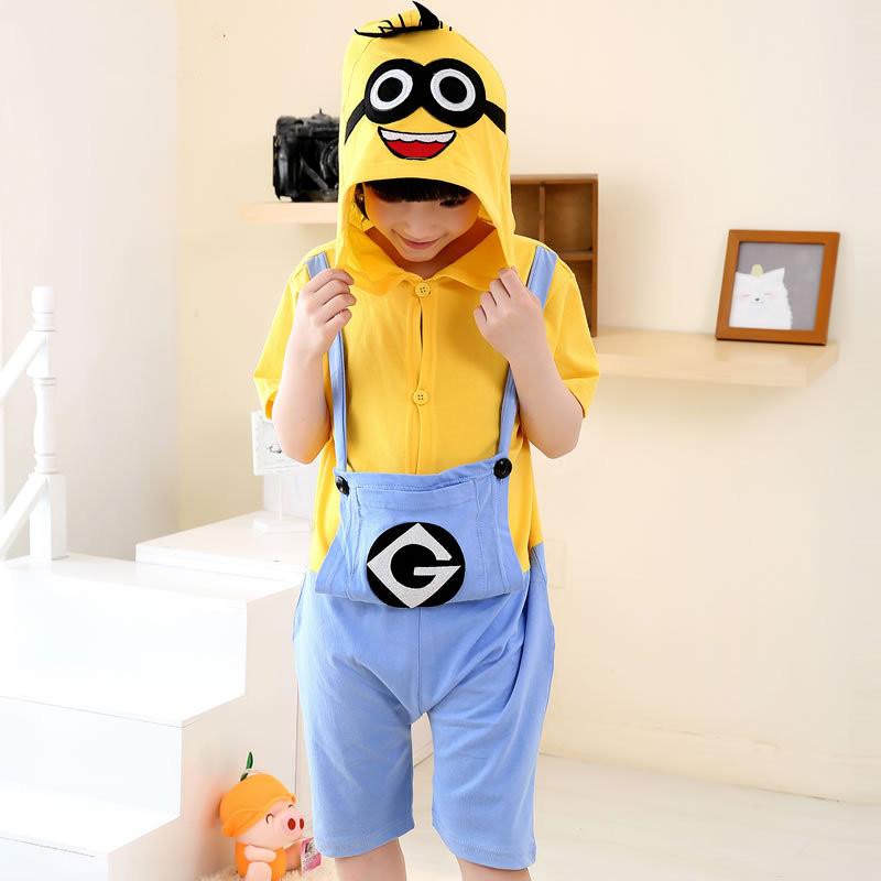 Kids Yellow Minions Summer Short Onesie Kigurumi Pajamas for Unisex Children