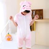 Kids Pink Pig Summer Short Onesie Kigurumi Pajamas