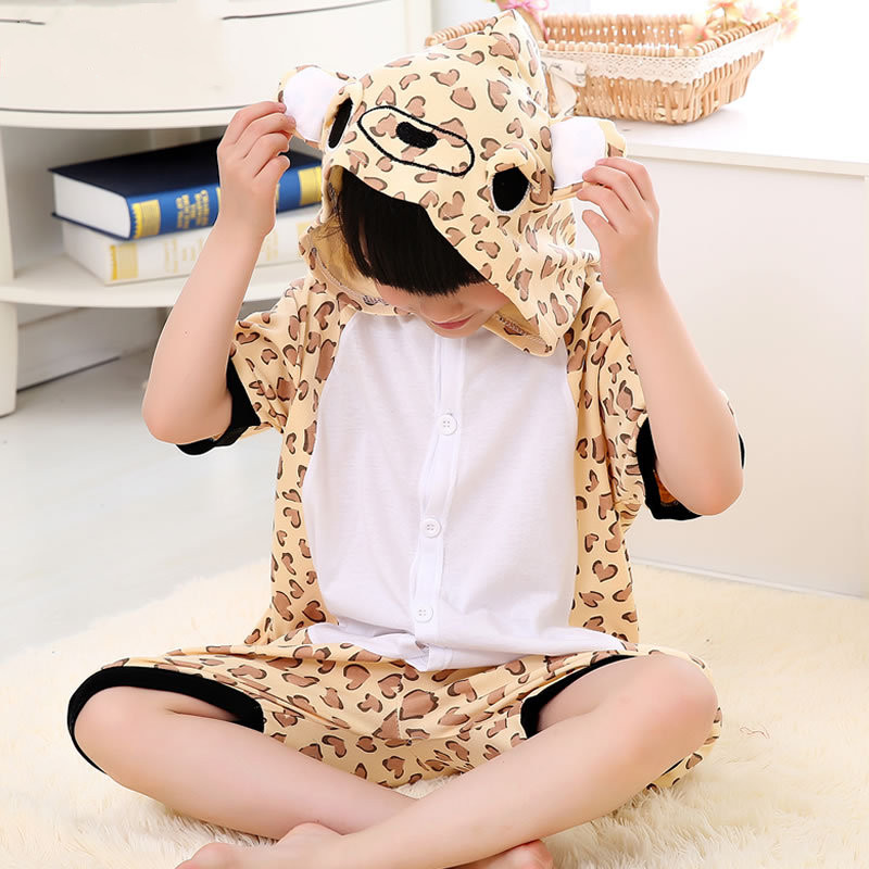 Kids Brow Leopard Summer Short Onesie Kigurumi Pajamas for Unisex Children