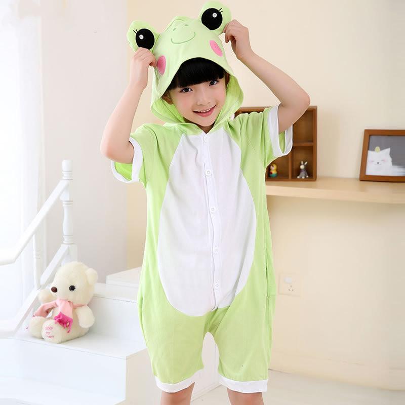 Kids Green Frog Summer Short Onesie Kigurumi Pajamas for Unisex Children