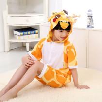 Kids Yellow Giraffe Summer Short Onesie Kigurumi Pajamas for Unisex Children