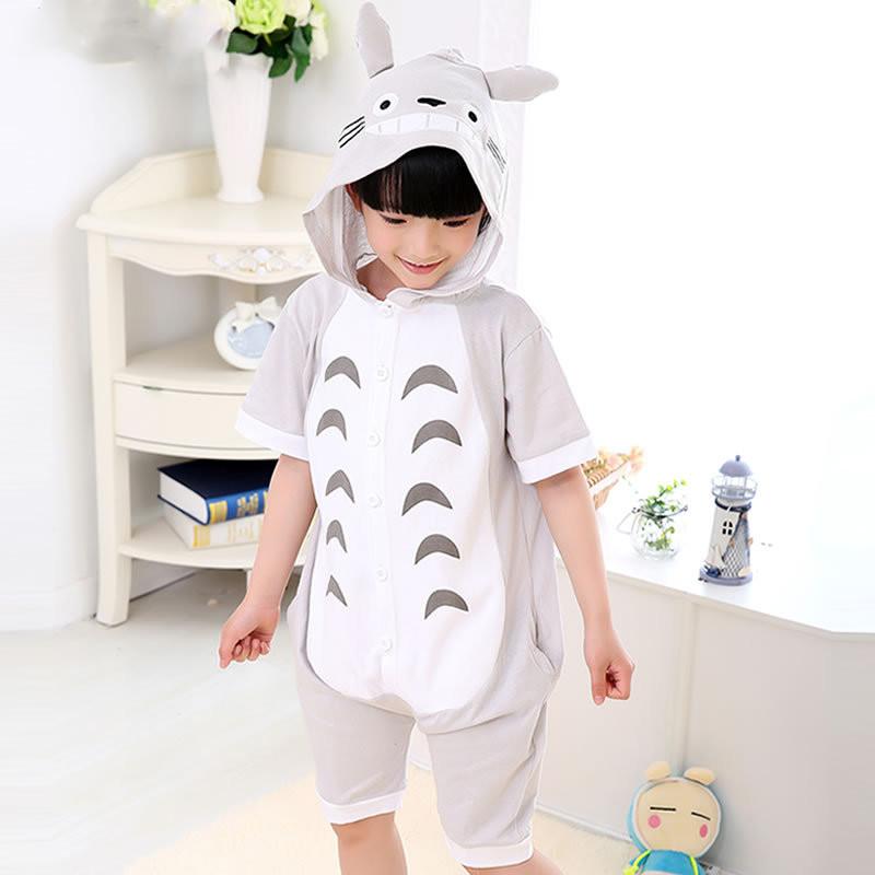 Kids Grey Totoro Summer Short Onesie Kigurumi Pajamas for Unisex Children