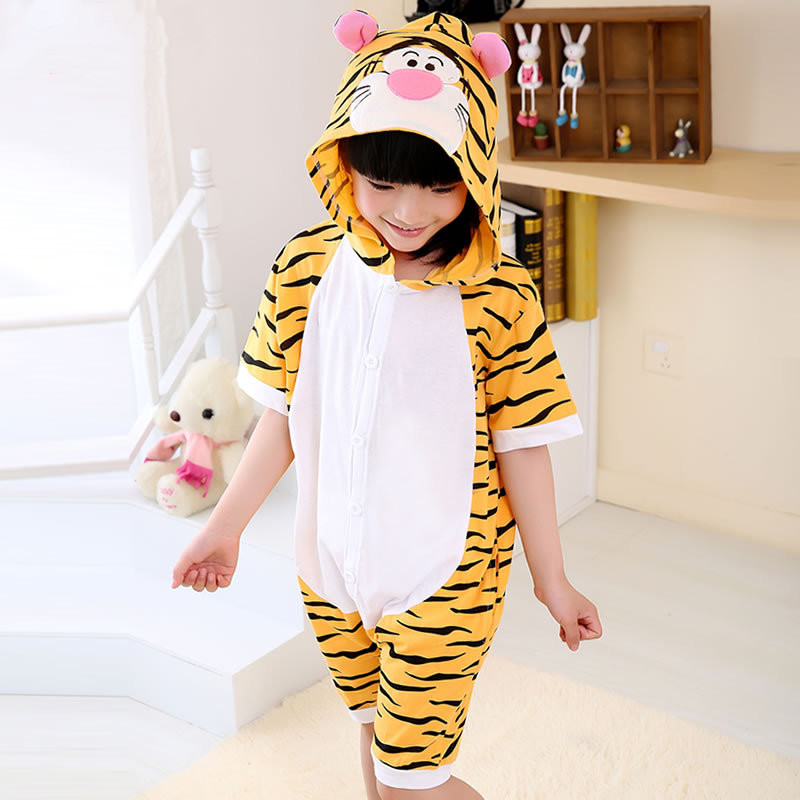 Kids Yellow Tiger Summer Short Onesie Kigurumi Pajamas for Unisex Children