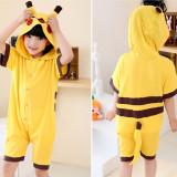 Kids Yellow Pokemon Pikachu Summer Short Onesie Kigurumi Pajamas for Unisex Children