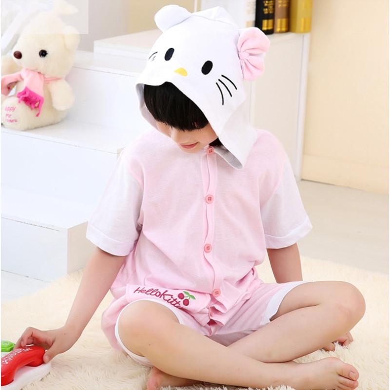 Kids Pink Cat Summer Short Onesie Kigurumi Pajamas for Unisex Children