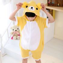 Kids Yellow Bear Summer Short Onesie Kigurumi Pajamas for Unisex Children