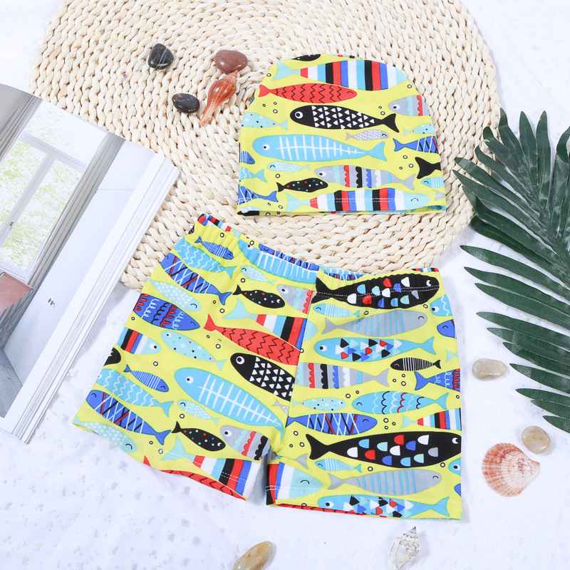 Kid Boys Print Sea Fish Swimwear Trunks Swim Boxer Shorts With Cap