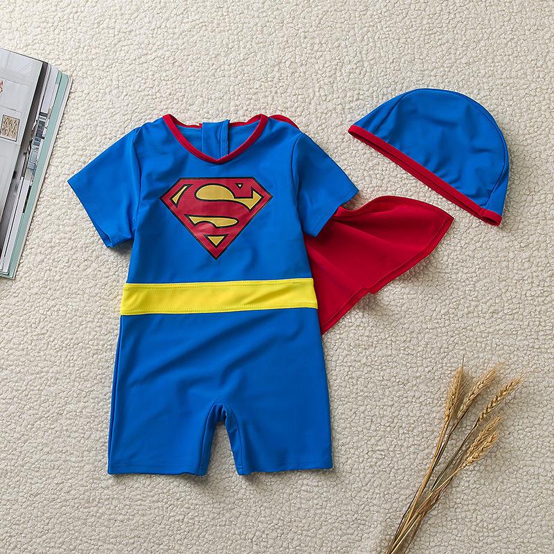 Kid Boys Print Superhero Swimsuit With Swim Cap