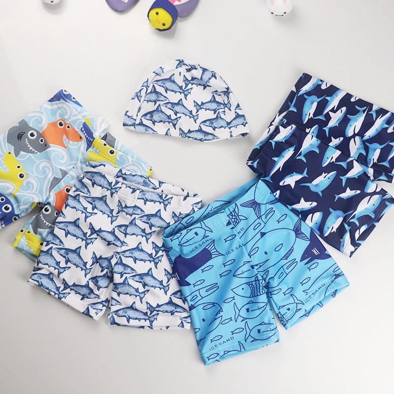 Kid Boys Print Sharks Swimwear Trunks Swim Boxer Shorts With Cap