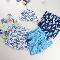 Kid Boys Print Sharks Swimwear Trunks Swim Boxer Shorts With Cap