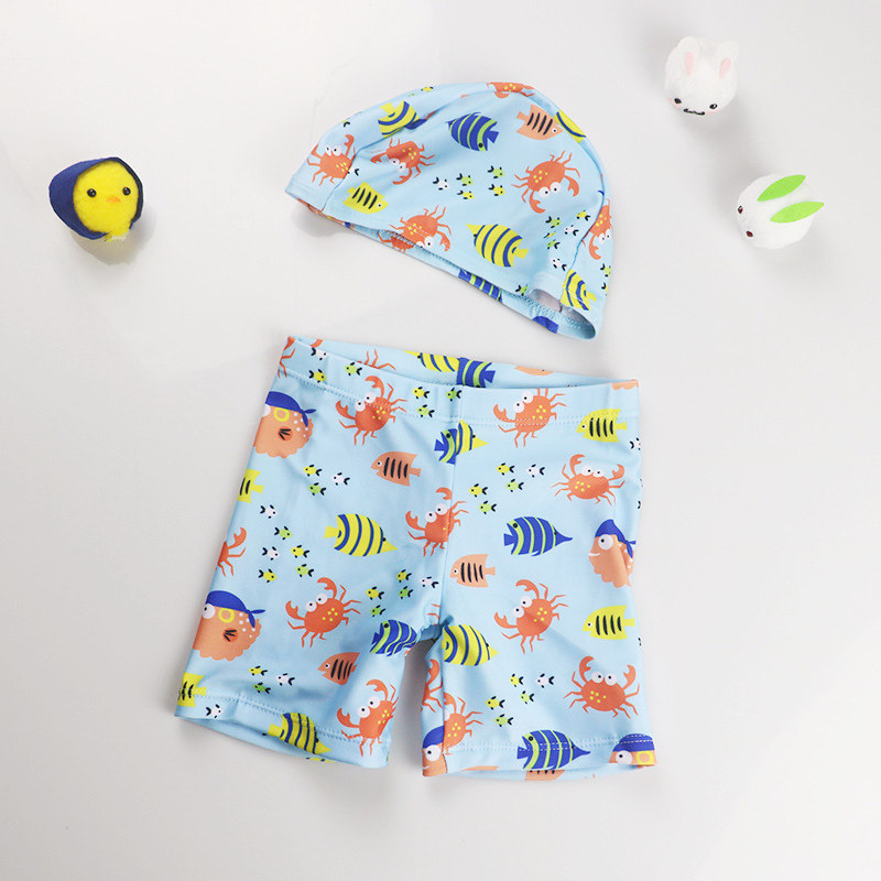 Kid Boys Print Fish Swimwear Trunks Swim Boxer Shorts With Cap