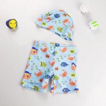 Kid Boys Print Fish Swimwear Trunks Swim Boxer Shorts With Cap
