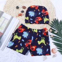 Kid Boys Print Cute Dinosaurs Swimwear Trunks Swim Boxer Shorts With Cap
