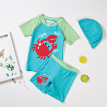 Kid Boys Print Crabs Short Top and Trunks Two Pieces With Swim Cap