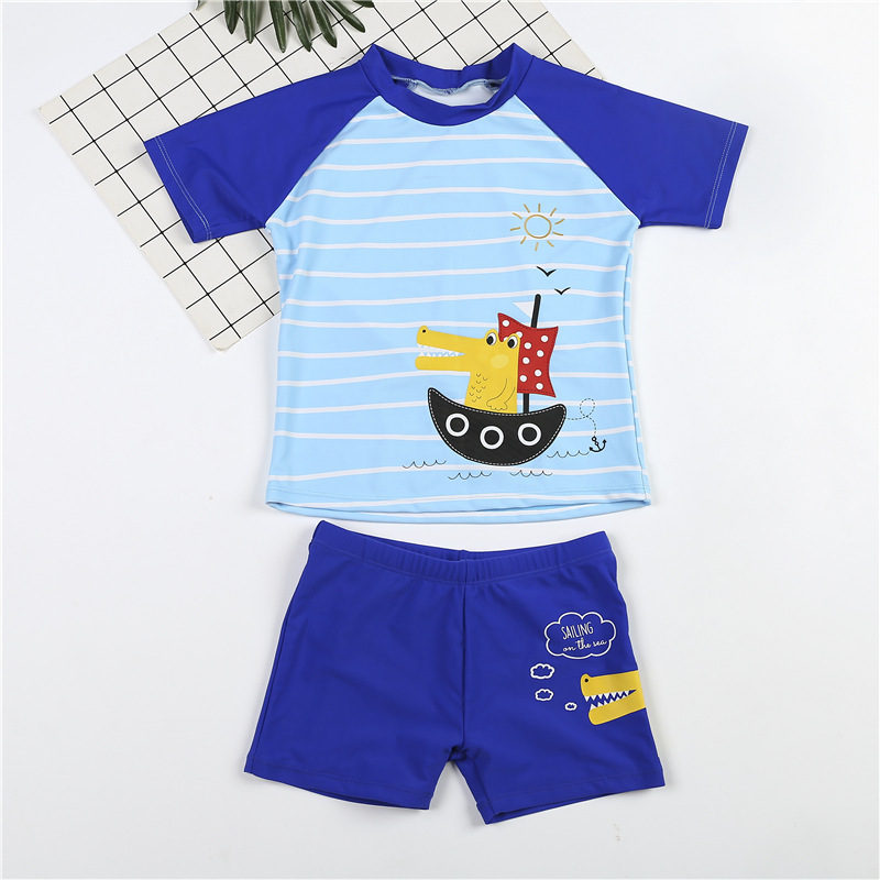 Kid Boys Print Crocodile Short Top and Trunks Two Pieces