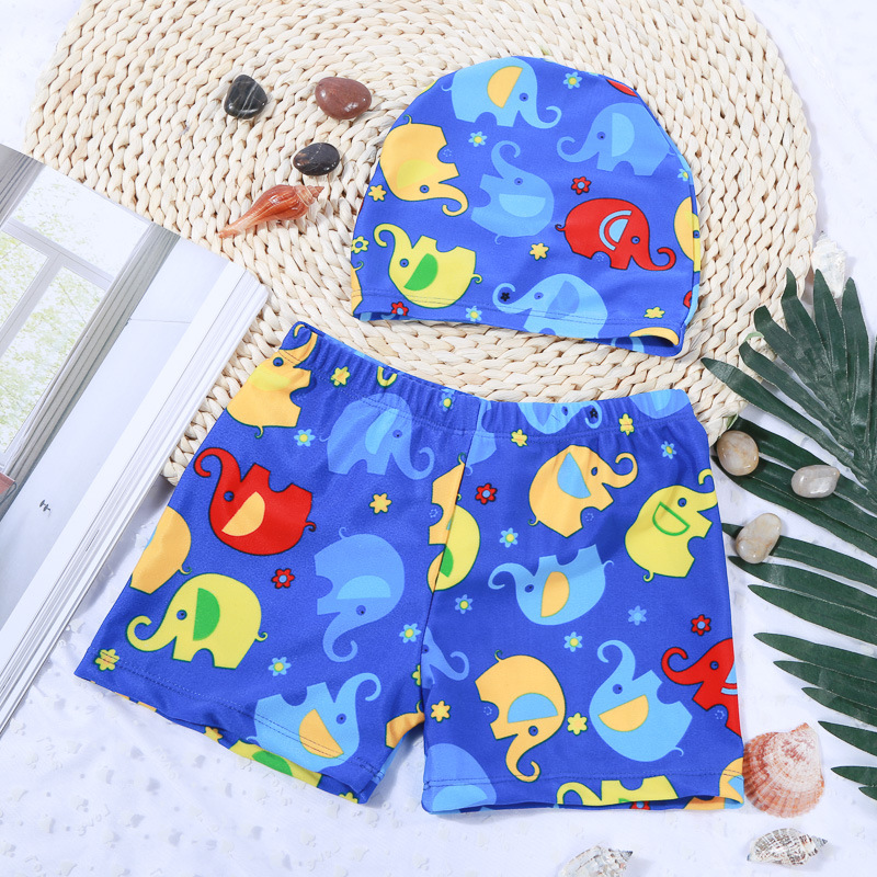 Kid Boys Print Cartoon Elephants Swimwear Trunks Swim Boxer Shorts With Cap