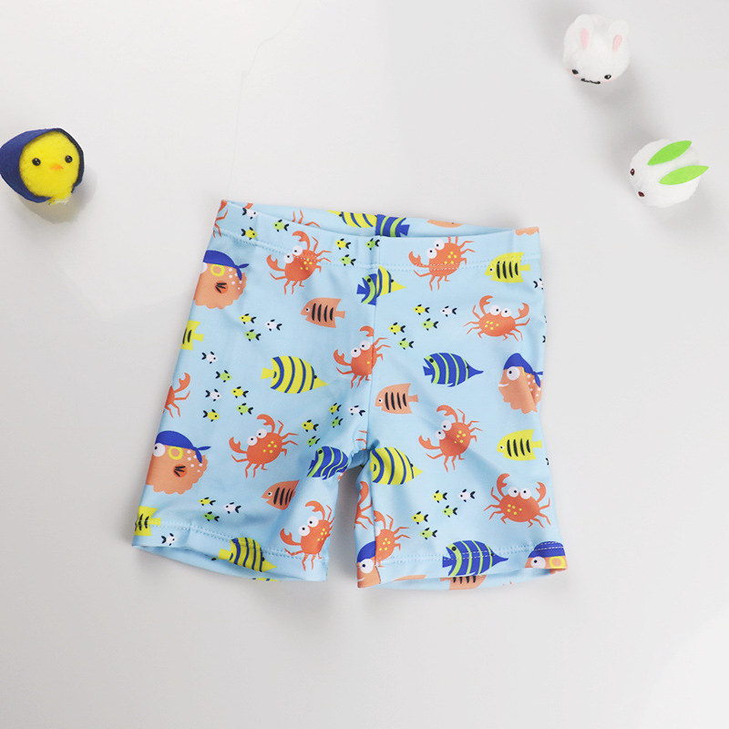 Kid Boys Print Fish Swimwear Trunks Swim Boxer Shorts