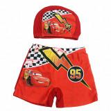 Kid Boys Print Racing Car Swimwear Trunks Swim Boxer Shorts With Cap