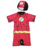 Kid Boys Print Super Hero Swimsuit With Swim Cap