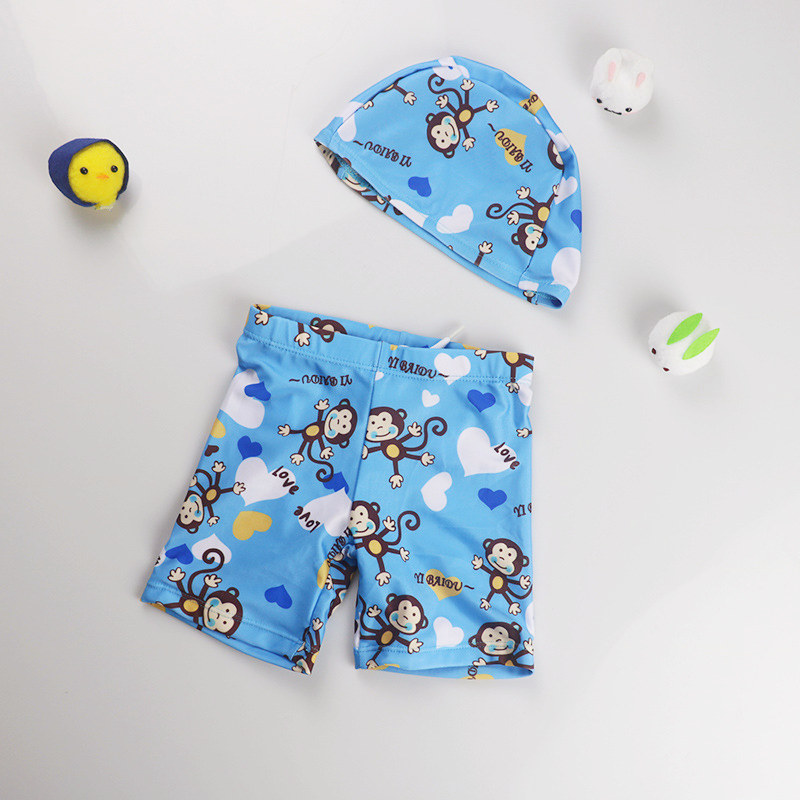 Kid Boys Print Monkey Swimwear Trunks Swim Boxer Shorts With Cap