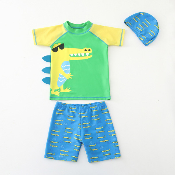 Kid Boys 3D Print Crocodile Short Top and Trunks Two Pieces With Swim Cap