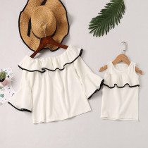 Mommy and Me Off The Shoulder Ruffles White Blouse