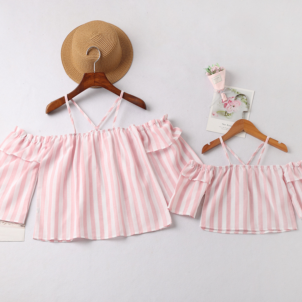Mommy and Me Stripes Off The Shoulder Family Matching Blouse