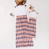 Mommy and Me Geometric Pattern Family Matching Maxi Dress