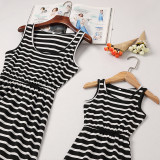 Mommy and Me Black Strpies  Family Matching Sleeveless Maxi Dresses