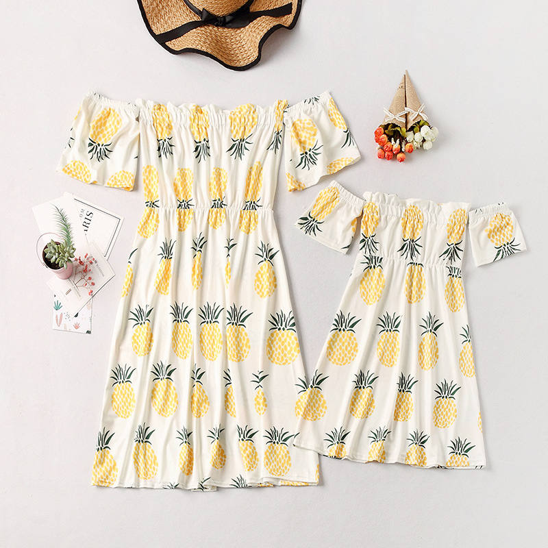 Mommy and Me Off The Shoulder Prints Pineapples Family Matching White Dresses