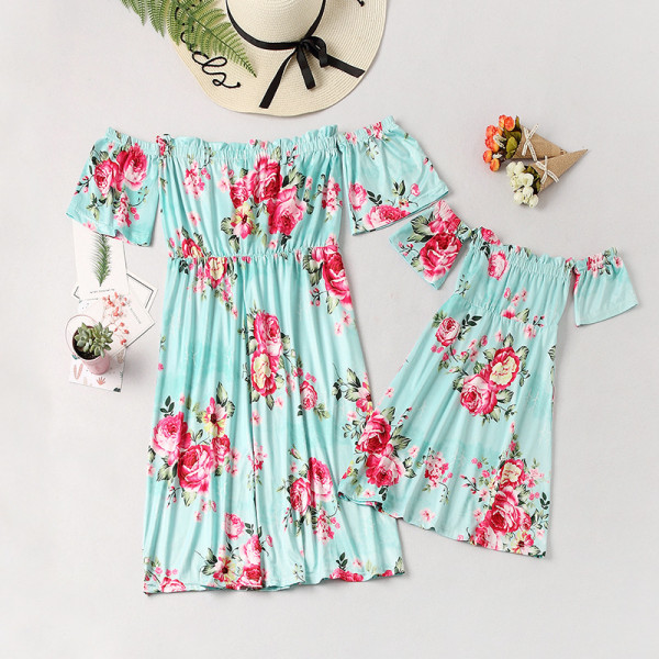 Mommy and Me Off The Shoulder Flowers Family Matching Blue Dresses
