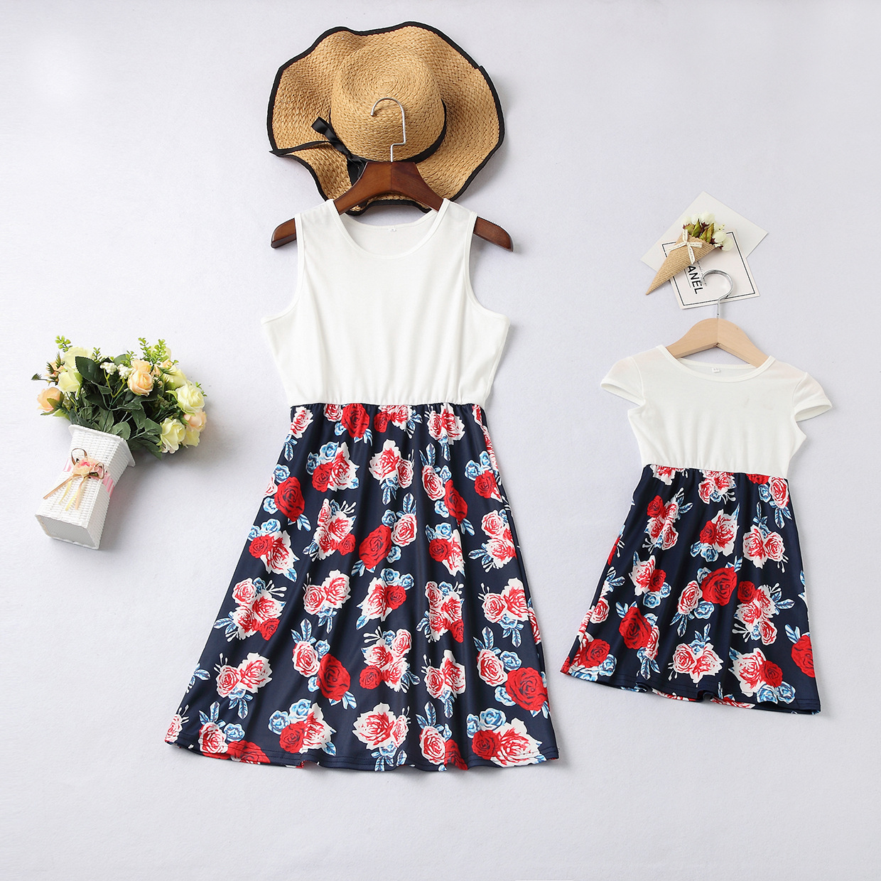 Mommy and Me Flowers Family Matching Sleeveless Dresses