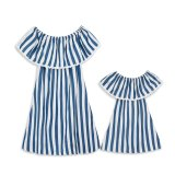 Mommy and Me Lace Ruffles Stripes Family Matching Off The Shoulder Dress