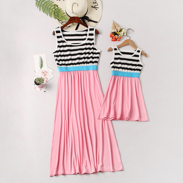 Mommy and Me Black Stripes Family Matching Pink Maxi Dress