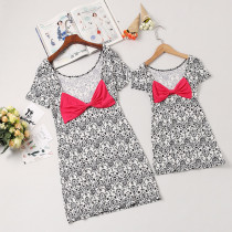 Mommy and Me Geometric Pattern Bowknot Family Matching Bodycon Dress