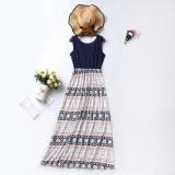 Mommy and Me Geometric Flowers Family Matching Lace Up Hollow Out Back Maxi Dress