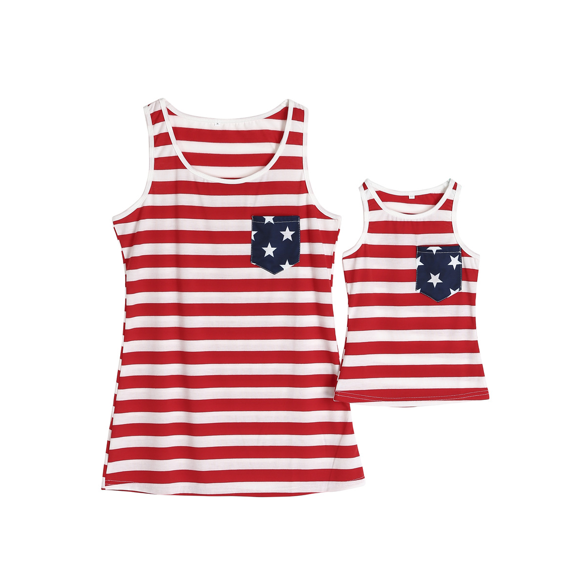 Mommy and Me Red Stripes Blue Stars Family Matching Vest Tops