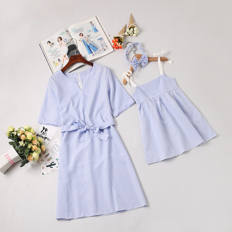 Mommy and Me Blue Stripes Family Matching A-line Dress