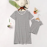 Mommy and Me Black Stripes Family Matching White Casual T-shirt Dress